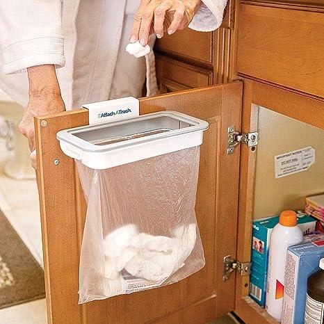 Attach a Trash – Cesta Soporte para bolsas basura suspendido de basura con Clip Montaje Sobre Cualquier puerta, cajón o puerta Con Ancho Máximo de 15 ...
