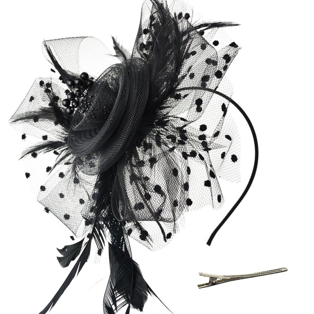DRESHOW Fascinators Hut Blume Mesh B/änder Federn auf einem Stirnband und Einem Geteilten Clip Cocktail Tea Party Headwear f/ür M/ädchen und Damen