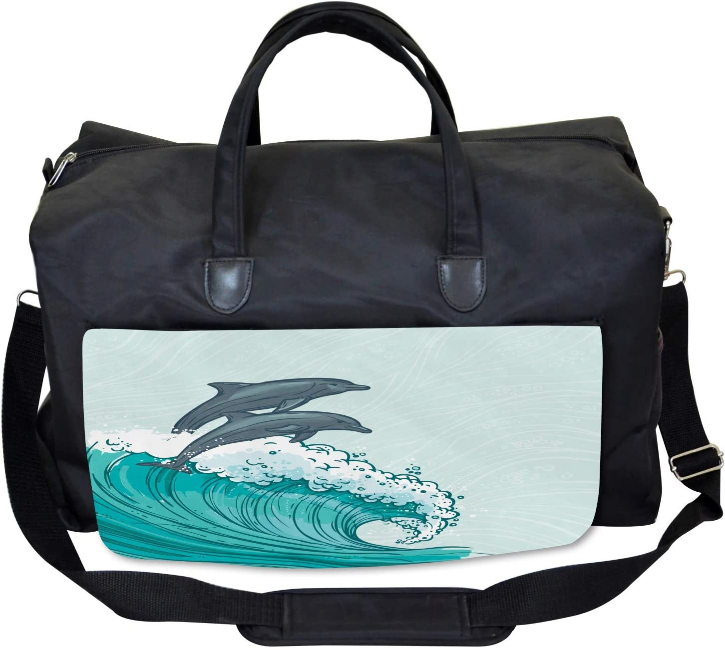 Large Weekender Carry-on Sea Waves Sketch Art Ambesonne Dolphin Gym Bag