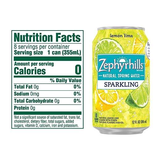 Zephyrhills Sparkling Water, Lemon Lime, 12 oz  Cans (Pack of 8)