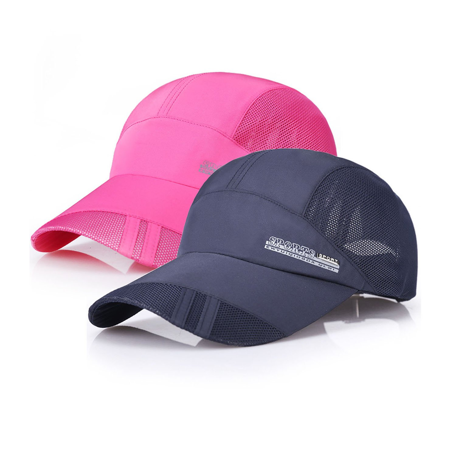 sdsruioo New UV Quick-Drying Waterproof Baseball Cap Outdoor Lightweight UV Protection Hats (Rose red+Navy)