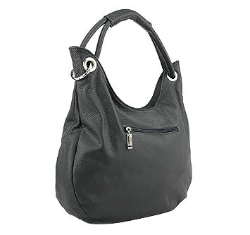 21fde596c459e OBC Made in Italy Damen Echt Leder Shopper Tasche Ledertasche Handtasche  Henkeltasche Schultertasche (Grau)