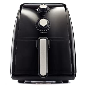 BELLA (14538) 2.5 Liter Electric Hot Air Fryer with Removable Dishwasher Safe Basket, Black