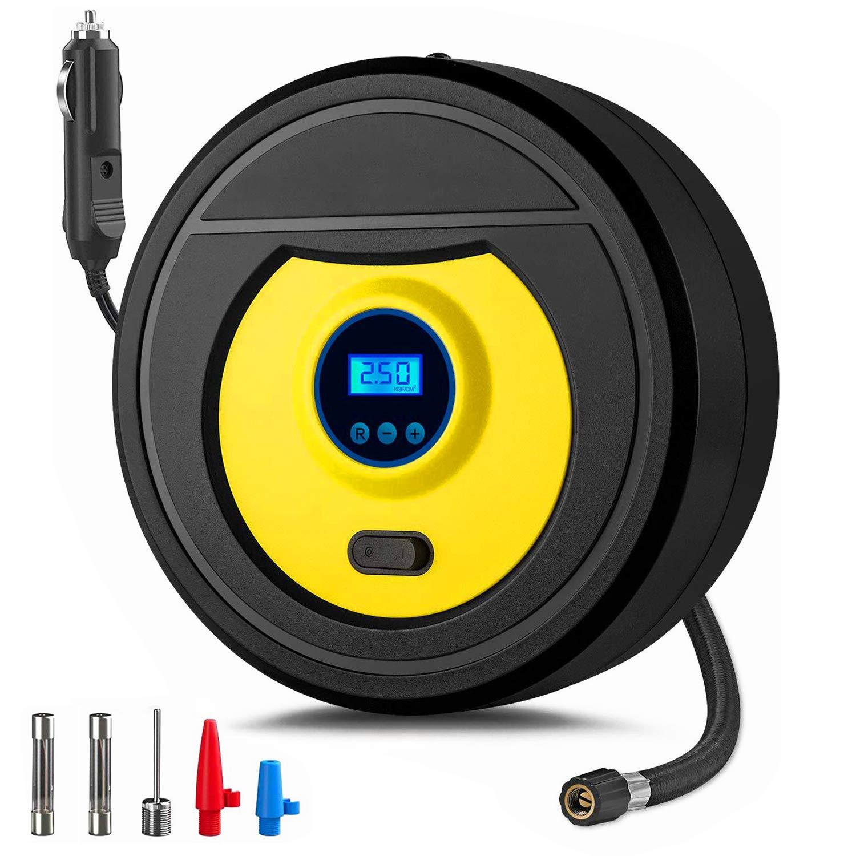TABIGER Auto Luftpumpe,12V Luftkompressor Reifen Inflator Kompressor Digital Tragbare Kompressor mit LCD Bildschirm Fahrrad Auto Reifenpumpe 150PSI mit 2.8 Meter Stromleitung f/ür Auto