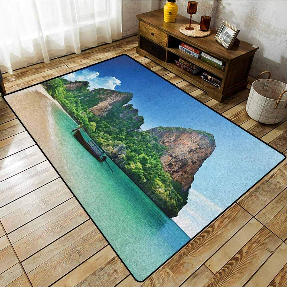 Collection Area Rug Tropical Railay Beach Krabi Thailand Small Boat Crystal Water Rock Cliff Tropical Landscape Easy Clean Rugs Blue Green Amazon Co Uk Kitchen Home