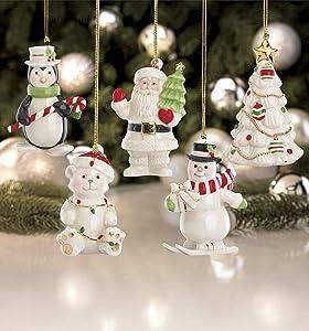 LENOX Merry Little Christmas 5-piece PORCELAIN Ornament Set SNOWMAN SANTA BEAR TREE PENGUIN New in box