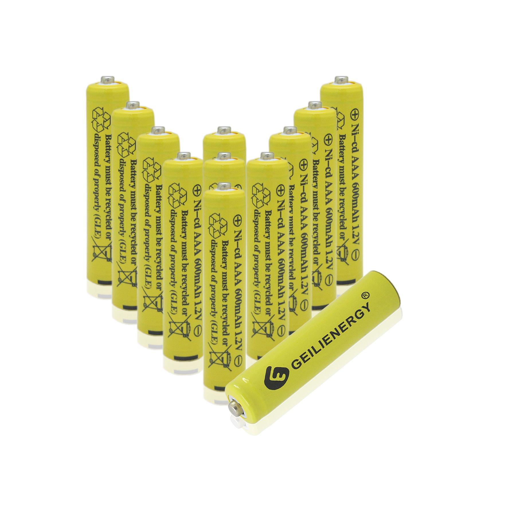 GEILIENERGY NiCd AAA 1.2V 600mAh Triple A Rechargeable Batteries for Solar light Solar Lamp Garden Light(12 PCS)