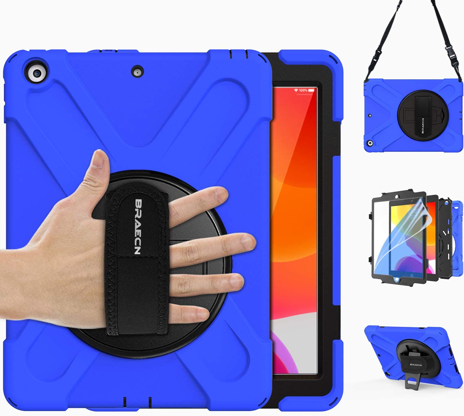 "BRAECN New iPad 8th/7th Generation 10.2"" Case 2020/2019 with [Kickstand] [Screen Protector] [Handle Grip Strap] [Shoulder Strap], Rugged Heavy Duty Cover for Apple iPad 8th/7th Gen 10.2 Inch -Blue"