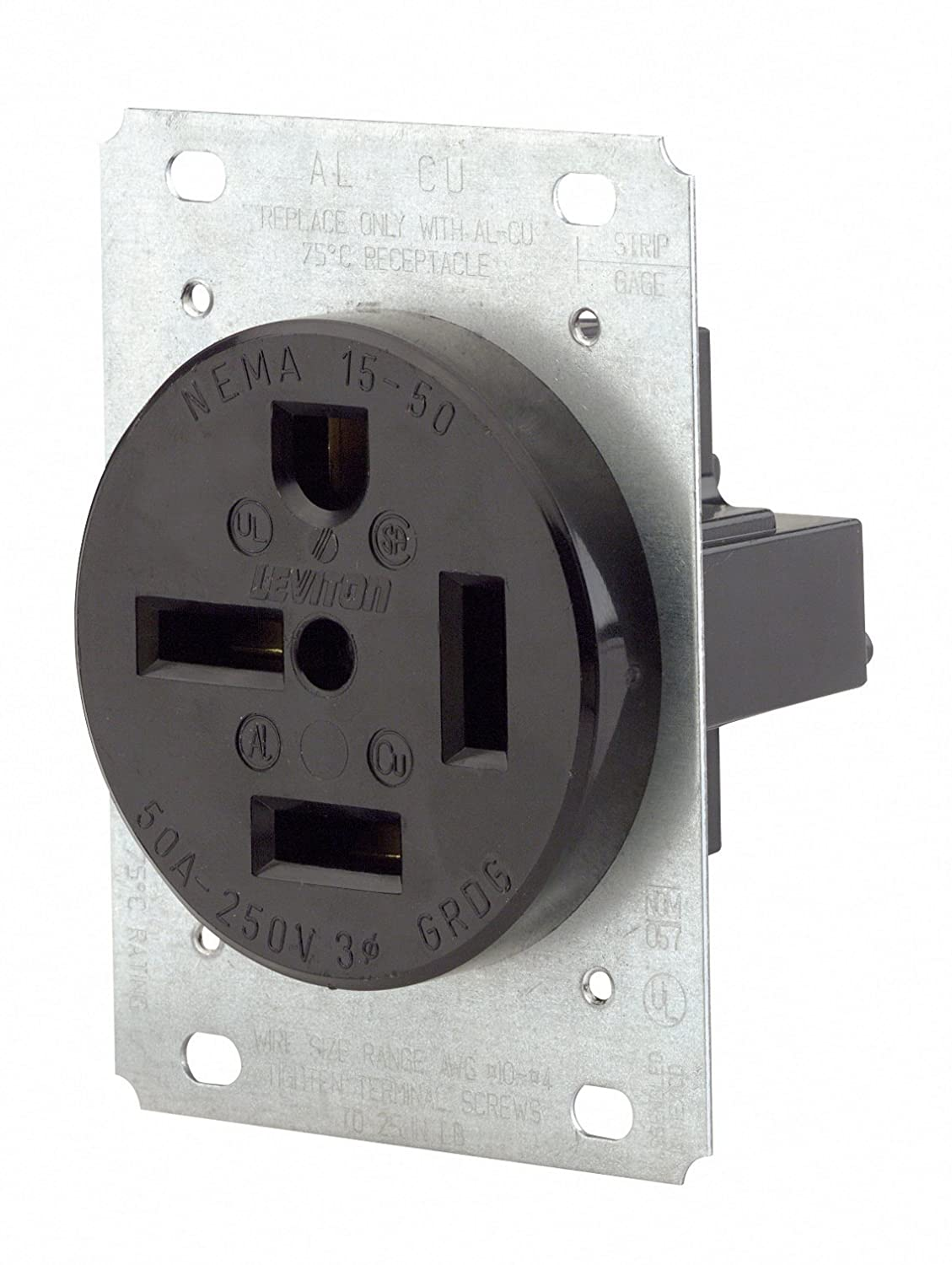 Leviton 8450 50 Amp, 250 Volt, Flush Mounting Receptacle, Straight ...