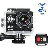 "Mixmart Action Cam 4K Full HD 30fps Impermeabile Schermo LCD 2"" Lente Grandangolare Fish-eye 170°, Action Camera 4K Sport WIFI con Kit Accesori e 2 Batterie"
