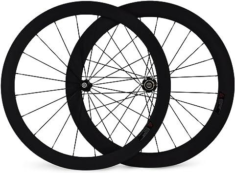 BaiXiang 50 mm Tubular bicicleta rueda 60 mm rueda trasera Tubular de carbono ruedas de bicicletas cubos negros acabado mate para Shimano Cassette cuerpo: Amazon.es: Deportes y aire libre