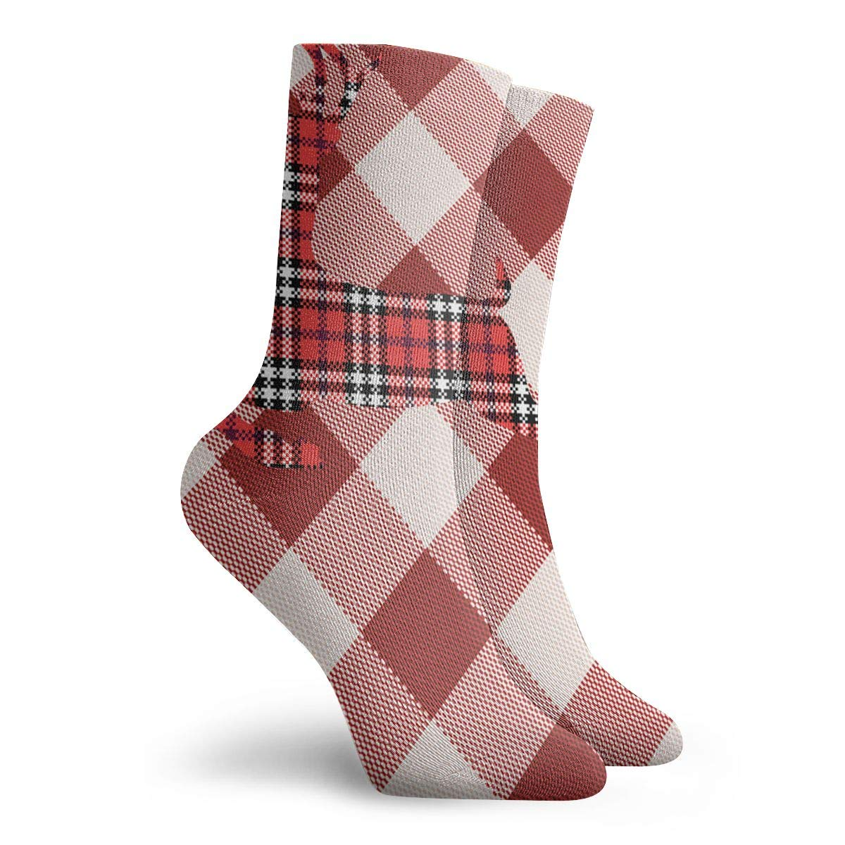 Red And White Plaid Pattern Reindeer Unisex Funny Casual Crew Socks Athletic Socks For Boys Girls Kids Teenagers