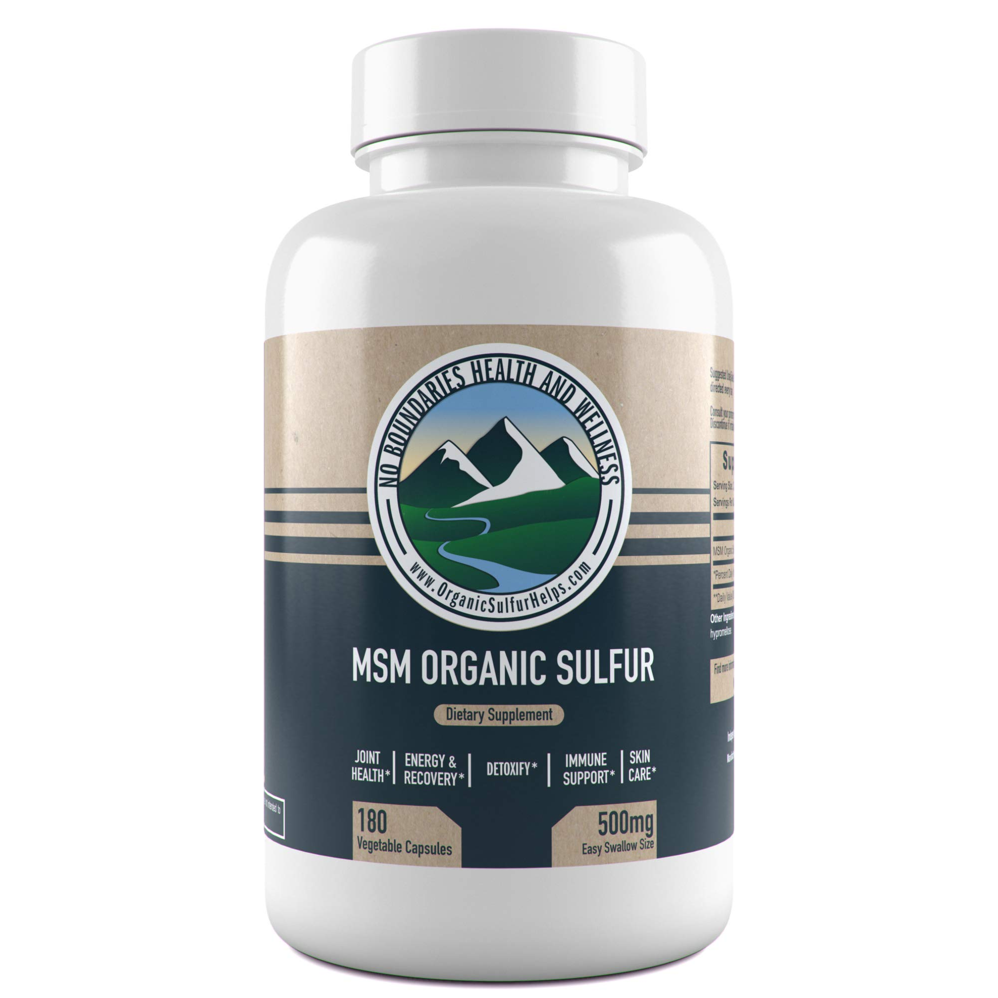 500mg MSM Organic Sulfur Capsules by No Boundaries Health and Wellness - 180 Vegetable Capsules: No Excipients or Fillers - Premium Health Supplement: 99.9% Pure MSM Powder - Joints, Skin, Hair, Nail by No Boundaries Health and Wellness MSM Organic Sulfur