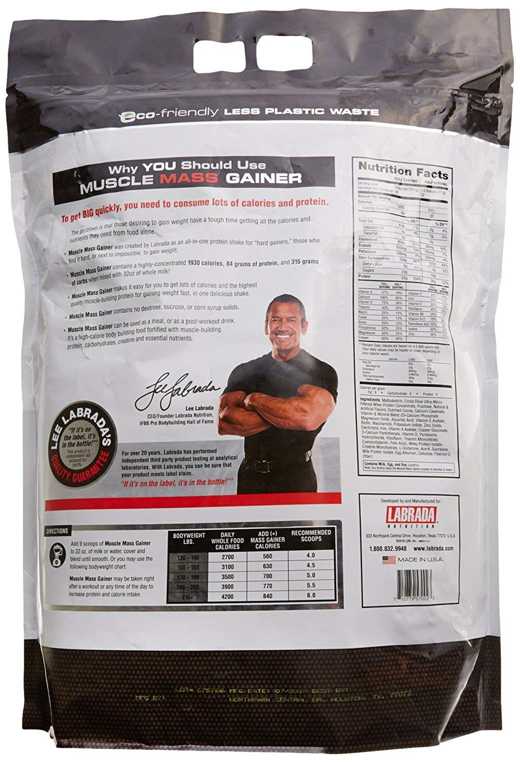 Labrada Nutrition Muscle Mass Gainer, Chocolate, 12 Pound by Labrada (Image #4)