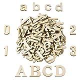 Satinior 124 Pièces Totalement Lettres Bois Chiffres en Bois Lettres et Chiffres Majuscule en Bois pour Artisanat Décoration Bricolage Affiche