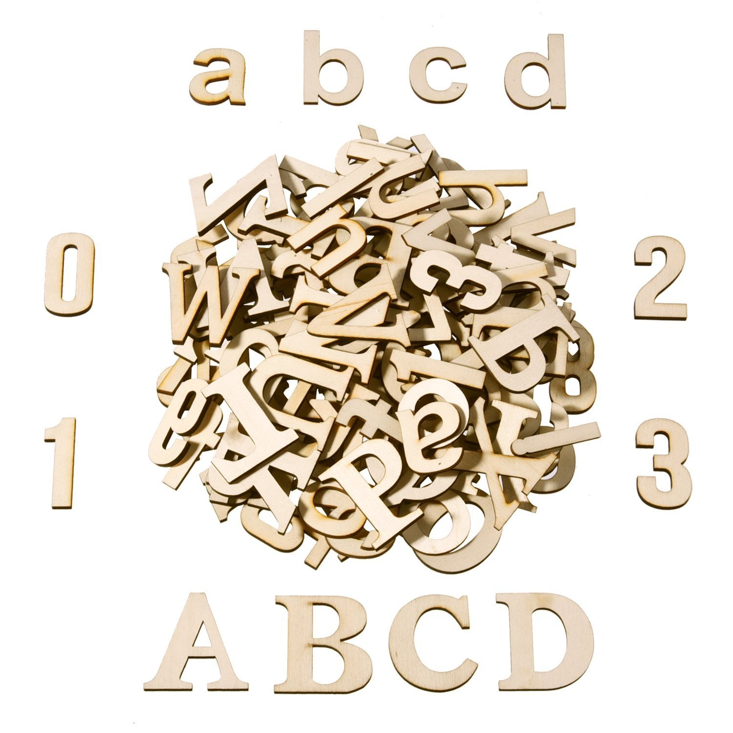 Satinior 124 Pieces Totally Wooden Capital Letter Wood Lower Case Letters Wooden Numbers for Arts Crafts DIY Decoration Displays
