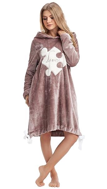 dc4fafeb93 LEVERIE accappatoio morbido e di tendenza per donna/Vestaglia / Accappatoio  spa con applicazione puzzle, marrone, Taglia L: Amazon.it: Abbigliamento