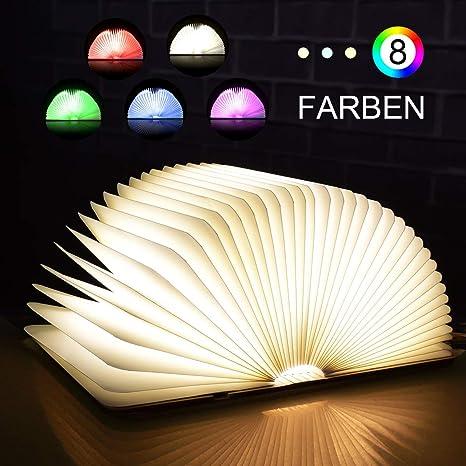 skey ánimo iluminación, 8 colores libro lámpara de madera ...