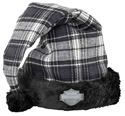 d7dcbf16ade56 Image Unavailable. Image not available for. Color  Harley-Davidson Winter  Holiday Santa Hat - Black Plaid w Satin Lining HDX-