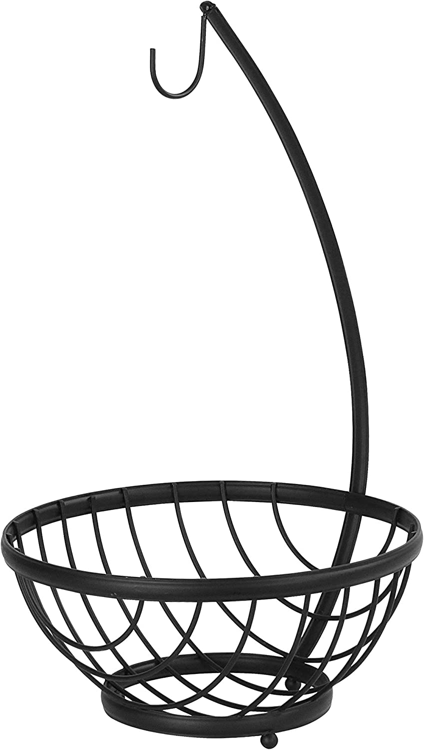 Spectrum Diversified Ashley Small Tree & Basket Hanger & Small Basket, Produce Saver Banana Holder & Open Wire Fruit Bowl for Kitchen Counter & Dining Table, Black