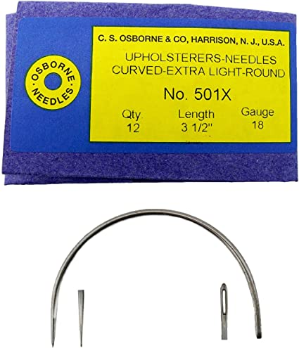 """C.S Osborne Pack Of 12 Curved Needles Extra Light #501X Size 3/"""" Made In USA"""