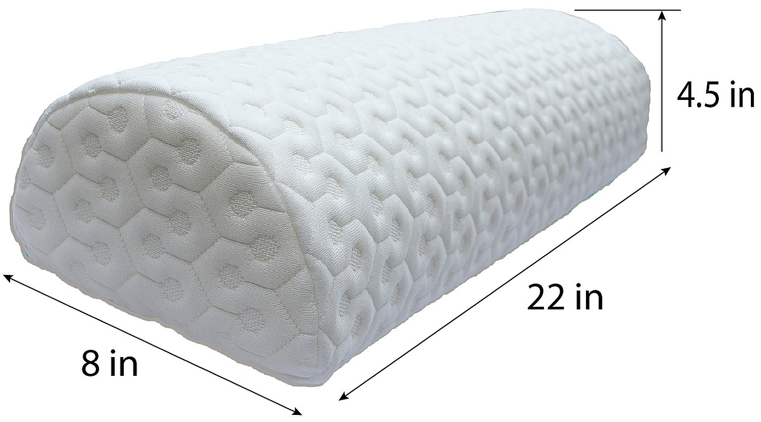 Joey's Room Half Moon Pillow | Bolster for Leg Elevation and Lower Back and Knee Support for Side Sleeper | Honeycomb Heavyweight Removable Cover