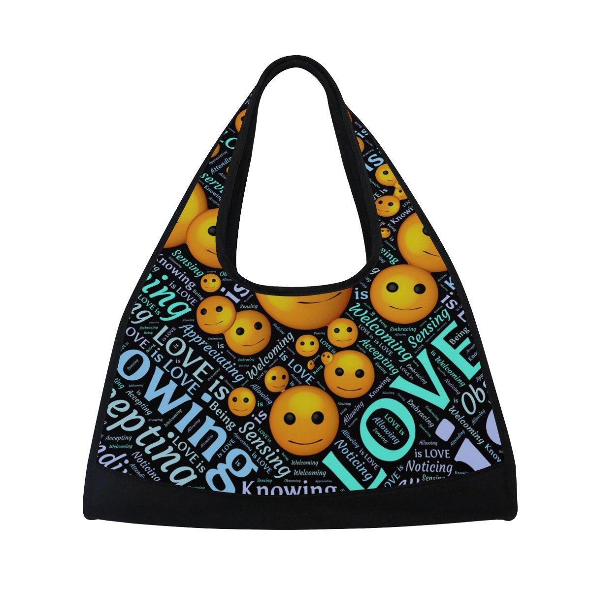 AHOMY Sports Gym Bag Emoticons Letter Duffel Bag Travel Shoulder Bag