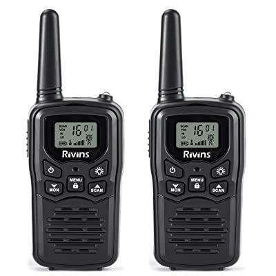 Rivins RV-7 Walkie Talkies for Adults Long Range 2 Pack 2-Way Radios Up to 5 Miles Range in Open Field 22 Channel FRS/GMRS Walkie Talkies UHF Handheld Walky Talky (Black/Orange): Car Electronics