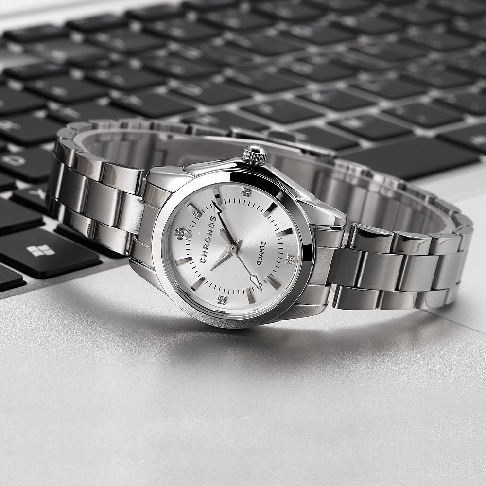 Chronos Women Girls Silver Stainless Steel Quartz Waterproof Watch Round Analog Silver Dial by Chronos (Image #5)