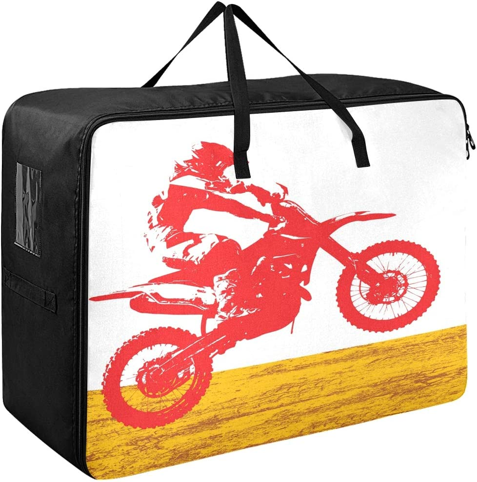 Large Storage Bins Rider Participates Motocross Cool Motorcycle Blankets Clothes Bedspread Storage Bag Fabric Closet Organization Sweater Duvet Storage Bags for Storing Bulky Bedding Accessories Wardr