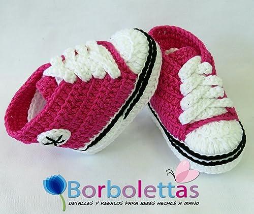 Patucos para Bebé, tipo Converse, 3-6 meses, Rosa Fucsia. Hecho a ...