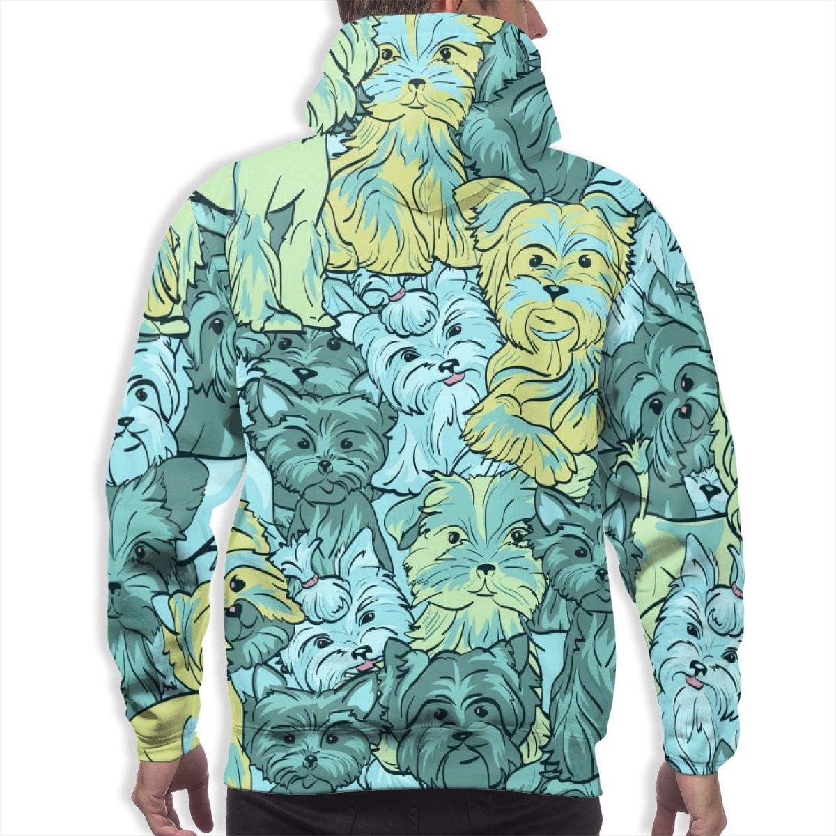 Mens Hoodie Dog of Yorkshire Puppy Sweate Sweatshirt Mens Casual Hoodie Casual Top Hooded