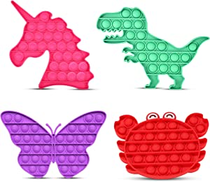 OAKKART Push Pop Bubble Fidget Sensory Toys, 4 Pack Pop It Stress Relief & Anti-Anxiety Game, Special Needs Autism ADHD Silicone Squeeze Popping Gift set Unicorn Dinosaur Butterfly Crab for Kids Adult