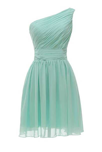 Grace Lee One Shoulder Chiffon Prom Dresses Short Bridesmaid Dresses XXL Mint