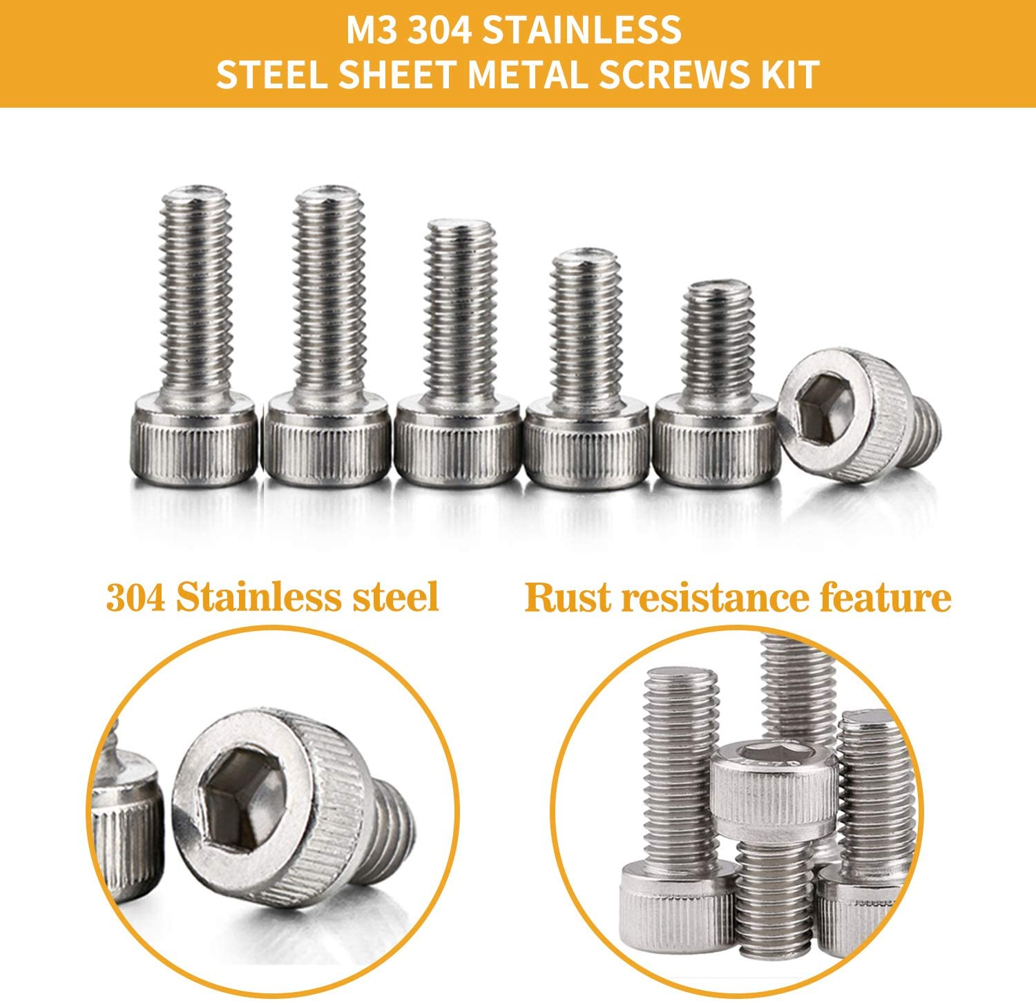 VIGRUE Stainless Steel M3 Hex Socket Head Cap Screws Bolts Nuts and Flat Washers Assortment Kit with Allen Wrench 1110PCS