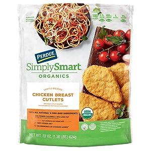 Perdue Simply Smart Organics Lightly Breaded Chicken Breast Cutlets, 22 oz. (Frozen)