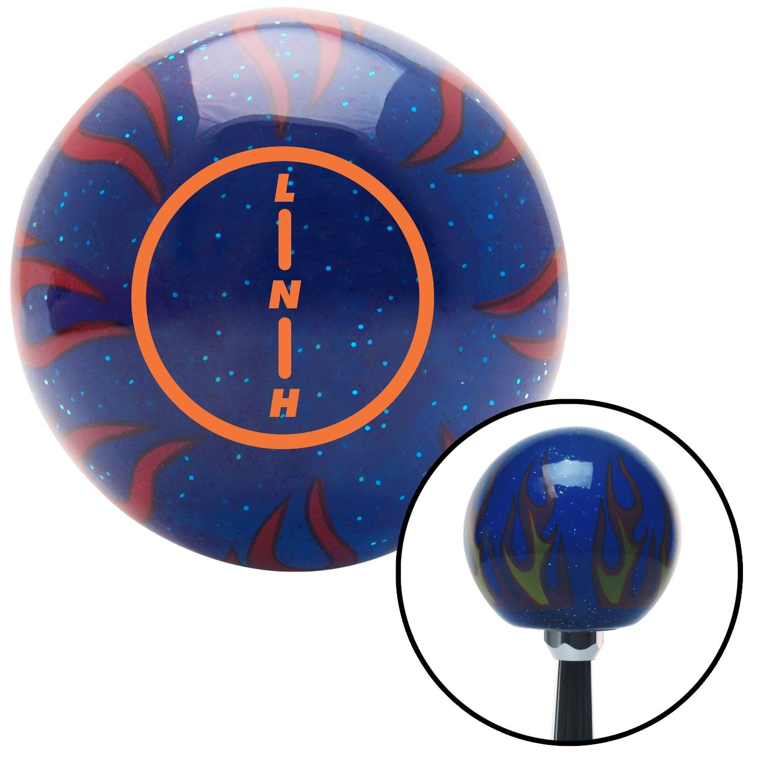 Orange Transfer Case #2 American Shifter 243965 Blue Flame Metal Flake Shift Knob with M16 x 1.5 Insert
