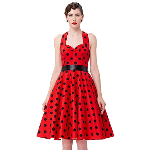 Yafex Pinup Polka Dot Vintage 1950s 1960s Rockabilly Swing Prom Dress (Red B Polka)