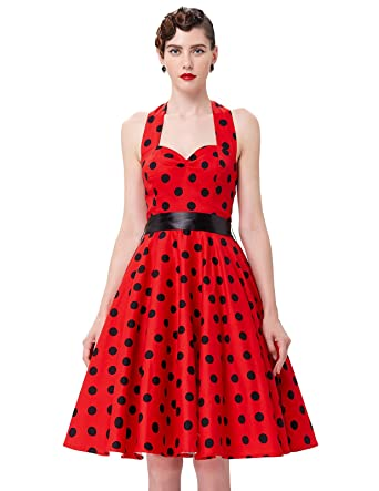 Yafex Womens Cocktail Dress Xx-Large Red B Polka