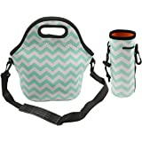 ASYOU Insulated Neoprene Lunch Bag Tote Waterproof Outdoor Travel Picnic Lunch with Shoulder Strap Water bottle Tote for Women Men Kids (Blue)
