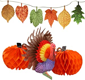 MorTime Set of 4 Tissue Paper Pumpkin Turkey Maple Leaves Banner, Thanksgiving Hanging Autumn Themed Decor for Thanksgiving Home School Party Decorations