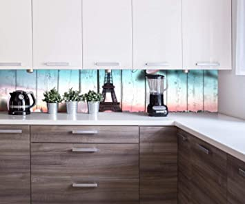 Küchenrückwand Holz Blüten Paris Eiffelturm Nischenrückwand ...