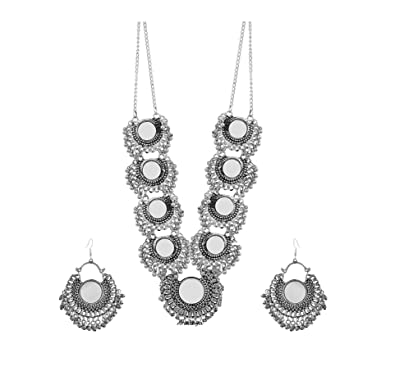 a140a7855cc Buy Aradhya Designer Afghani Turkish Style Oxidised German Silver Chandbali  Pendant Necklace Set for Women (Mirror Necklace Set) Online at Low Prices  in ...