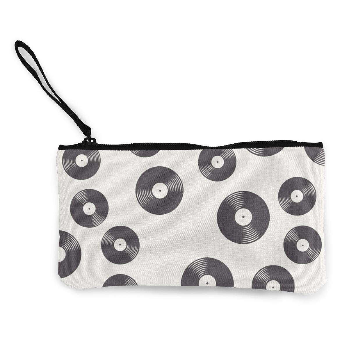 Vinyl Records White Pattern Canvas Coin Purse Small Cute Change Cash Bag with Zip