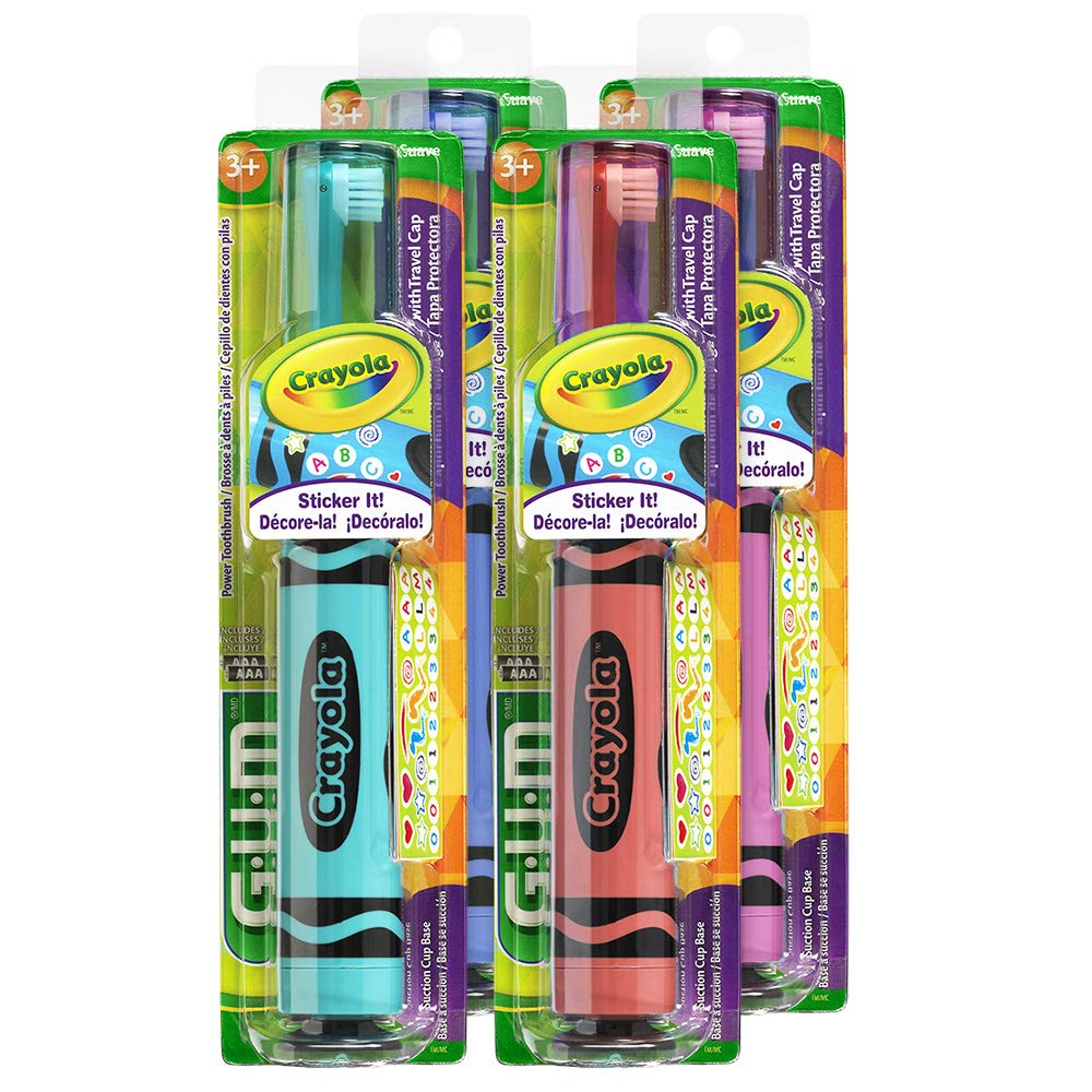 GUM Crayola Kids' Power Toothbrush with Travel Cap, Ages 3+, Assorted Colors (Pack of 4)