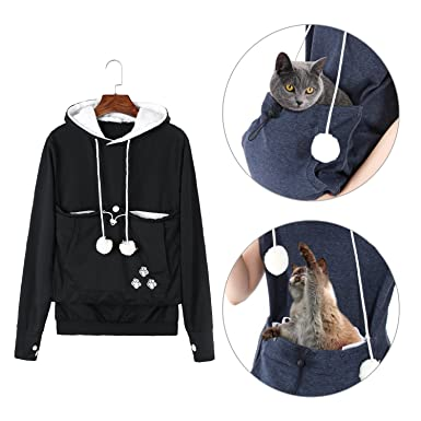 Dellytop Soft Plush Cat Ear Big Kangaroo Pouch Hoodie Long Sleeve - Hoodie with kangaroo pouch is the perfect cat accessory