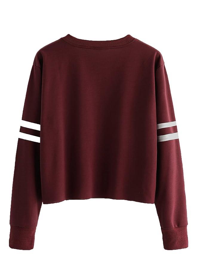 2e9311701ebd86 Romwe Women's Casual Striped Long Sleeve Crop Top Sweatshirt at Amazon  Women's Clothing store: