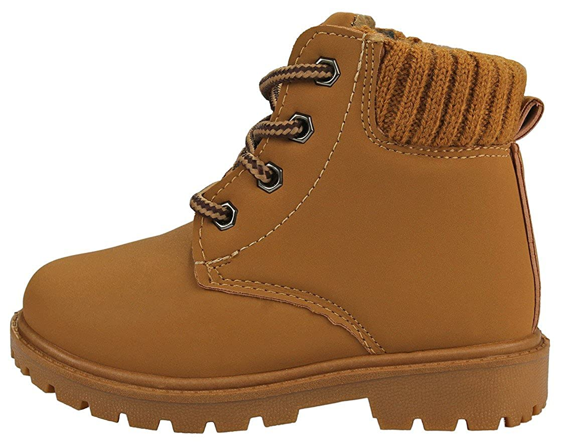 250682aa245 JJF Shoes Kids Girls Faux Nubuck Two Tone Lace Up Padded Collar Ankle  Combat Work Boots