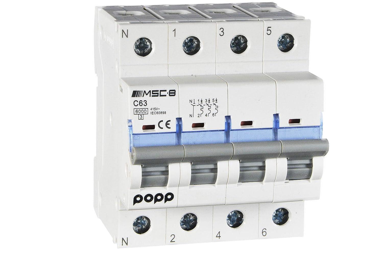 6A 10A 16A 20A 25A 32A 40A 50A 63A /… POPP/® Interruptor Autom/ático Magnetot/érmico industrial CURVA C 1P 2P 3P 3P+N, 10A
