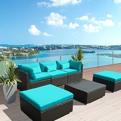 Amazon.com: modenzi 6 C-u Seccional Muebles de jardín al ...